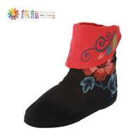Men Slingbacks Genuine Leather free shipping--Yun authentic Chinese style ethnic family Melaleuca embroidered black boots shoes * Butterflies *