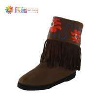 Men Slingbacks Genuine Leather free shipping--Genuine Original Ethnic rhyme family Melaleuca embroidered shoes in old Beijing cloth tube flat boots boots single fleeting S