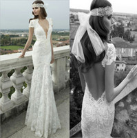 Trumpet/Mermaid Reference Images Portrait Sexy Deep V-Neck Backless Short Sleeve Berta Bridal Winter 2014 Collection Lace Wedding Dresses Mermaid Bridal Gowns Open Back Wedding Dress