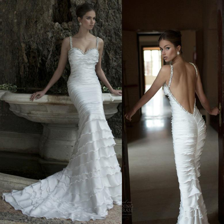 Sexy spaghetti crystal backless berta bridal winter 2014 for Winter mermaid wedding dresses