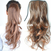 Wholesale New Fashion Women s Girls Wavy Curly Ponytail Horsetail Hairpiece Clip in Hair Extensions Accessories P03