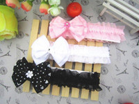 Headbands Children China (Mainland) Wholesale - Freeshipping!! NEW flower with diamond elastic headbands baby infant bow hairbands Hair Accessories