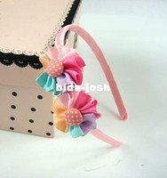 Wholesale Freeshipping New Children princess colorful ribbon HairBand flower Headband Barrette Hair Accessories