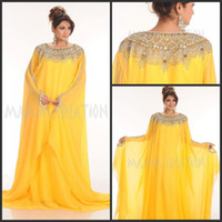 Cheap 2014 New Arrival Dubai Kaftan Abaya Light Yellow Chiffon Crystal Rhinesrone Long Evening Dress