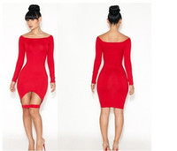 Wholesale NWT Women s Fashion Sexy Irregular Dresses Long Sleeve Red Zentai Catsuit Costumes