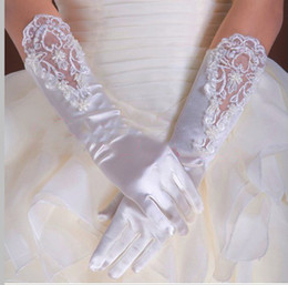 Wholesale High Quality White Five Fingers Satin Lace Bridal Gloves Wedding Acessories Prom Gloves a12