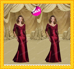 Wholesale Elegant Wine Red Sexy Mother of the Bride Dresses Vintage Short Sleeves Sexy V Neck Sheath Gowns Applique Weddomg Evening Formal Gowns
