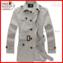 Wholesale Autumn and Winter New Arrival Men s Fashion Slim Single Breasted Adjustable Belt Trench Coat