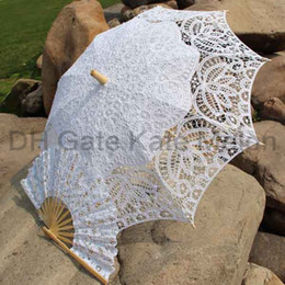 Wholesale Royal Vintage Battenberg Lace Parasol Sun Umbrella amp Fan in White amp Ivory Handmade for Wedding High Quality