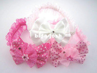 Wholesale Freeshipping NEW flower on diamond headbands baby kids Bow dots headband Hair wear Hair Accessories Fashion gifts