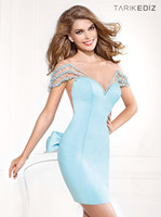 Wholesale 2014 Tarik ediz New Exotic Cap Sleeve Crew Satin Backless Sky Blue Pearls Cocktail Dresses With Bows Above Knee Short Party Dresses