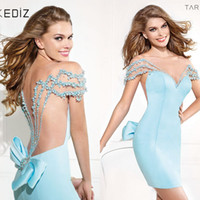 Wholesale A Line Tulle And Chiffon Pearls With Bows Beading Light Blue Sheath Zipper Up Backless Above Knee Chiffon Cocktail Dresses