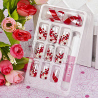 Wholesale Fashion Delicate box Red Inlay crystal D False nails Nails glue Gift BK13