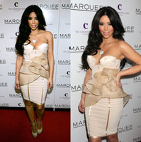 Reference Images Sweetheart Satin Cute Princess Sweetheart Neckliine Short Prom Cocktail Dress Satin Organza Knee Length Column Kim Kardashian Red Carpet Celebrity Dresses