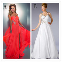 Wholesale 2014 Hot Selling Stunning Halter A Line Floor Length Coral Red White Party Prom Dresses with Delicate Beads Slit Evening Gowns Dress