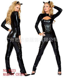 Wholesale women patent leather tights sexy clothing game uniforms black temptation cat girl sexy costumes