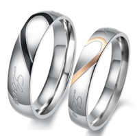 Wholesale Promotion Lover s Jewelry Hot Plating K Rose Gold Titanium Stainless Steel Double Rings Heart Shape For gift