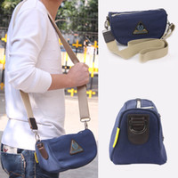 Wholesale Blue Weekend Messenger Shoulder Canvas Bag W Leather Crossbody Sport Bag