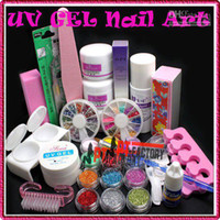 Manicure Kit No Yes Wholesale - Glue UV Tip Kit Set Pro Full Acrylic Powder Liquid French Nail Art Brush Free Shipping