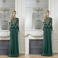 Wholesale 2014 New Sexy zuhair murad A Line Bateau Long Sleeves ChiffonFabric Evening Gowns with Sash and Appliques Dhyz