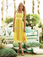 Wholesale Brightly yellow chiffon A line bridesmaid dresses tea length halter backless sleeveless short evening prom cocktail party gowns BO3934