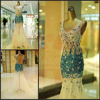 Wholesale 2014 Prom Dress See Through Corset Special Celebrity Cocktail Dresses Blue Rhinestones Beaded Trumpet Wedding Party Evening Dress E1391