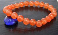 beaded gemstone stretch bracelets - Charm Gemstone Beads Round Shape mm Orange Color Jade Stretch Bracelet Fashion Lady s Girl s Jewelry New