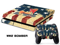 PS4   Vinyl Decal Skin Stickers Wrap For PS4 Play Station 4 Console+ Controllers-WW2 Bomber-0001