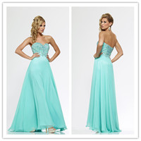Reference Images Sweetheart Chiffon 2014 Sexy A-Line Sweetheart Neckline Floor Length Beaded Crystal Aqua Chiffon Celebrity Dresses Long Evening Gowns Prom Dresses