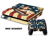 PS4   Vinyl Decal Skin Stickers Wrap For PS4 Play Station 4 Console+ Controllers-WW2 Bomber-0002