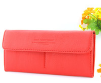 Wholesale 2013 New Korean Style Fashion Women s Lady PU Leather Purse Wallet Long Clutch Bag Red Dropshipping