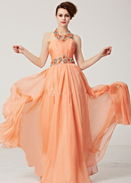 Wholesale Popular Orange Party Dresses Chiffon Backless Sweep Train Halter Beads Crystal Sash Sequins Fashion Inspired Cocktail Dresses