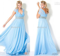 Wholesale Plus size chiffon A line light sky blue mother of the bride dresses floor length cap sleeves halter mother evening prom dresses Jov111059