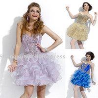 Reference Images Organza Sweetheart Short Mini Beaded Crystal Organza Homecoming Dresses Ruffles Beaded Corset Lace Up Back Party Time Formals Prom Dance Dresses AQ885
