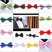 Wholesale Classic Male Femal Bowtie Fashion Solid Color Neckwear Unisex Mens Women Bow Tie Polyester CM Colors