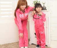 Wholesale EMS Velour Outwear Ladies Flying Wings Letter Long Sleeve Outfit Mum Mummy Hoodies Jacket Pants Leisure Sport Set Lady Women Tracksuit D1675