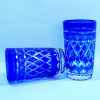 Wholesale Man Blown Bohemian Glass Cobalt Blue Cut to Clear glass beer cup Coffee Cup Juice Glass Tea set