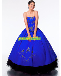 Wholesale 2014 Royal Blue Red Purple Smart Strapless Ball Gown Quinceanera Dresses Appliques Gowns Taffeta Tulle Dress