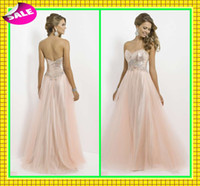 Wholesale 2014 New Arrival Tulle Elegant Evening Dresses Hot Champagne Bling Sequins And Colored Rhinestones Back Zipper Formal Prom Party Dress Gowns
