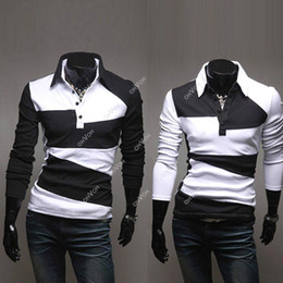 Wholesale S5Q New Fashion Men s Slim Fit Casual Polo Shirt T Shirt Long Sleeve AAACUJ