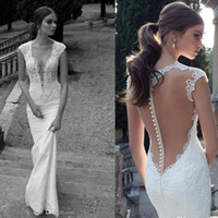 Wholesale Berta Winter Lace Sheer Wedding Dresses Deep V Neck Illusion Back Covered Button Mermaid Court Train Wedding Bridal Dresses Gowns