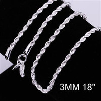 Wholesale sterling silver plated fashion mm twist rope chain necklace jewelry C014