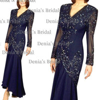 mother of the bride - 2014 New Dark Blue Vestidos Lace Applique Sheath Square Long Sheer Sleeves Floor Length Lace Mother Of The Bride Dresses Dhyz