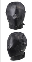 Wholesale 1pc Black PU Leather Hood Mask with Blindfold amp Breathable Ball Gag Bondage J1880
