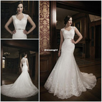 Other Reference Images Scoop 2014 Sexy New Scoop Collar Lace Mermaid Wedding Dresses Beaded Waistband Court Train Bridal Gown with jacket JA 8689