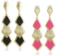 Wholesale pairs fashion jewelry European and American style punk retro long diamond drop enamel earrings stud dangle earrings