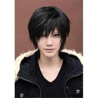 Wholesale S5Q Men s Fashion Short Black Straight Hair Full Wigs Cosplay Costume Party Festival Gift AAACMJ