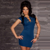 Wholesale 866 women new fashion black blue metal button decoration sexy lingerie clubwear bodycon dress elegant evening party dresses drop ship