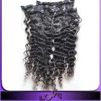 Wholesale Curly Clip on Hair Extension g set inch in Stock Human Hair Raw Unprocessed Hair Made Dye able