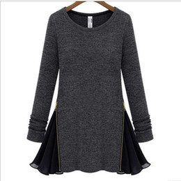 Wholesale Hotsale Black Grey O neck Long Sleeve Zip Knit Chiffon Patchwork Women Lady Ball Gown Casual Dress Large Size M L